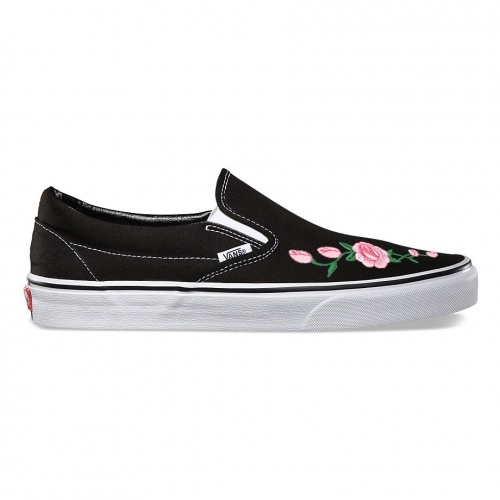 Vans Slip-On Embroidered Pink Rose Custom Handmade Shoes By Fans Identity
