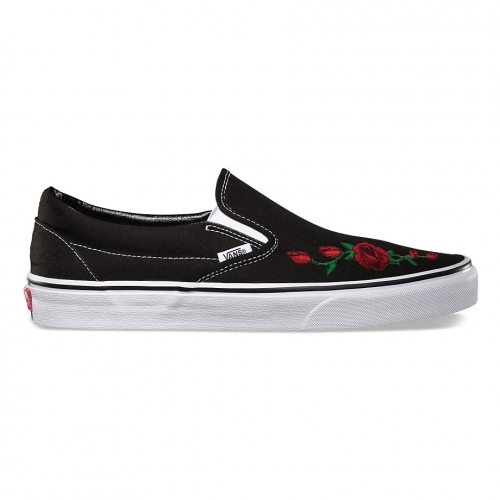Vans Slip-On Embroidered Red Rose Custom Handmade Shoes By Fans Identity