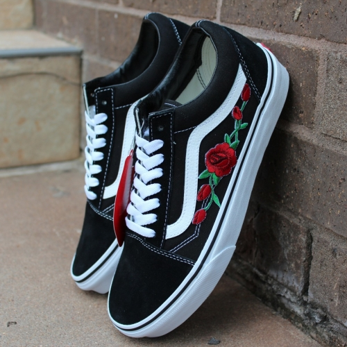 Vans Black Old Skool Embroidered Red Rose Custom Handmade Shoes By Fans Identity